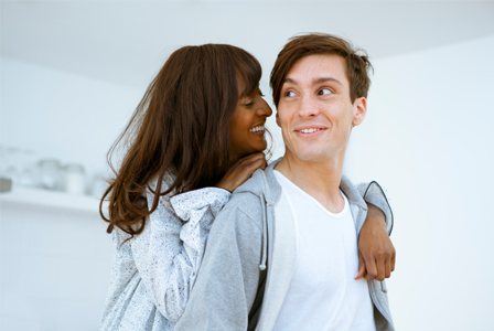 Woman talking to her boyfriend