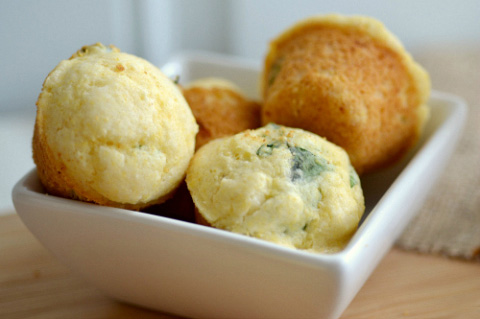 Mini basil cornbread muffins