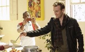 James' soup kitchen photo op