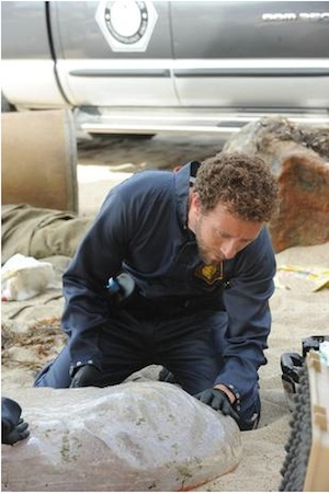Hodgins examines the Pod Man in Bones
