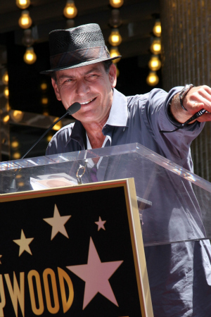 Charlie Sheen Receiving Star on Hollywood Walk of Fame