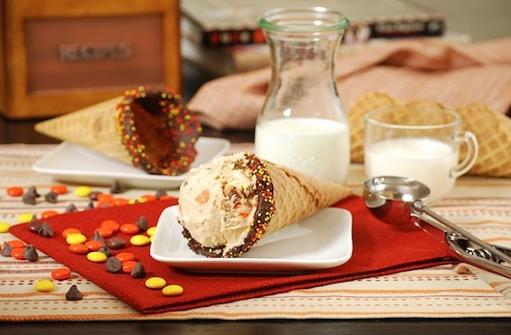 Peanut butter ice cream cornucopias