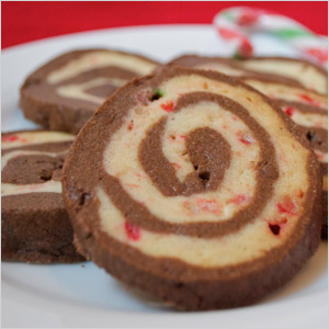 Chocolate chip peppermint pinwheel cookies