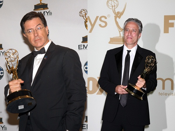 Stephen Colbert and Jon Stewart with their Emmys
