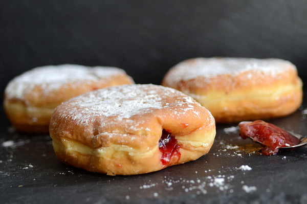 Deep fried strawberry filled Sufganiyot