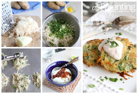 Baked potato pancakes collage