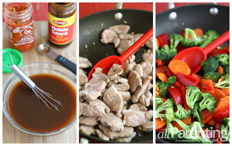 Pork stir fry collage