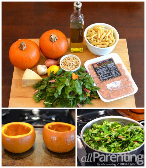 Roasted pumpkin, Swiss chard and sausage pasta collage