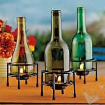 Wine bottle candleholders