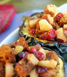 Cornbread stuffing with maple roasted acorn squash