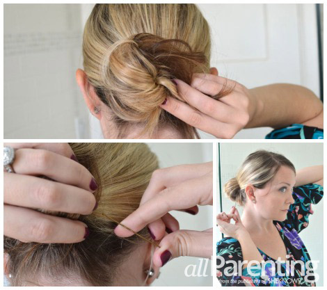messy bun pinning