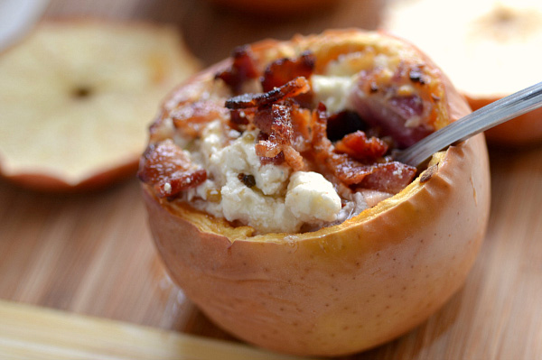 Bacon & goat cheese stuffed apples