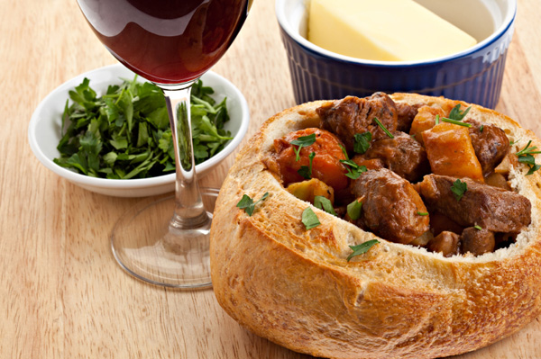 Beef stew in bread bowl