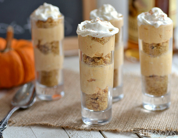 Boozy pumpkin cheesecake shooters recipe