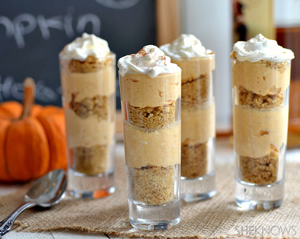 Boozy pumpkin cheesecake shooters