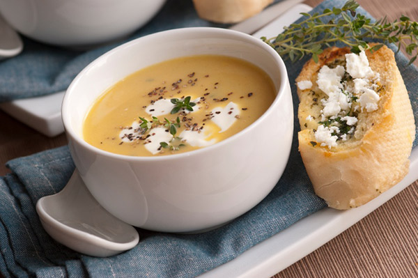 Winter Squash Soup With Gruyere Croutons Recipe — Dishmaps
