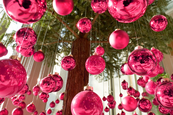 Christmas decor -- pink ornaments