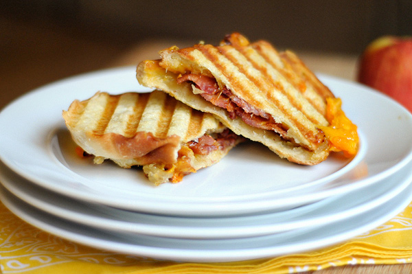 grilled apple jam bacon cheddar panini