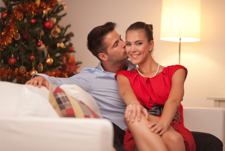 Couple in love at Christmas time