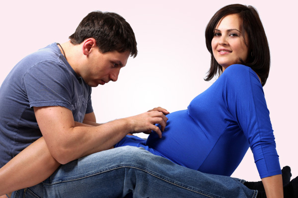 Expectant couple at birthing class