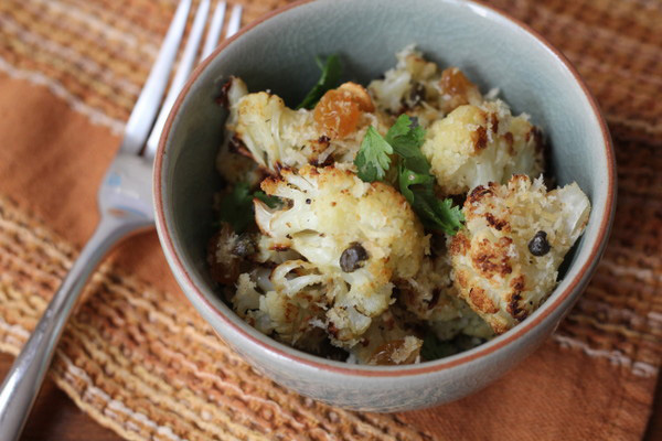 sweet-savory caper, raisin, and breadcrumbs cauliflower