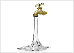 Glass water faucet