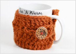 Cute as a button handmade mug cozy