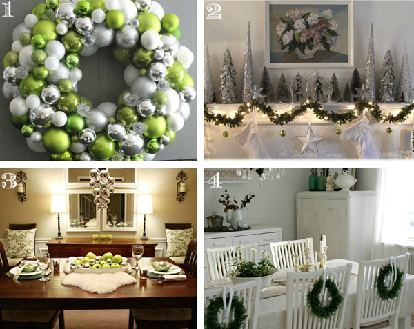 Green, Silver and White Holiday Color Scheme