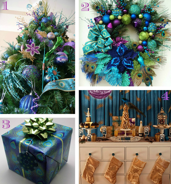 Peacock-hued Holiday Decor