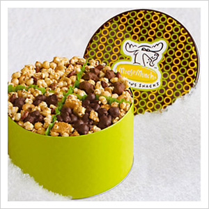 Harry and David Holiday Moose Munch Popcorn Gift Tin Classic, harryanddavid.com, $39.95