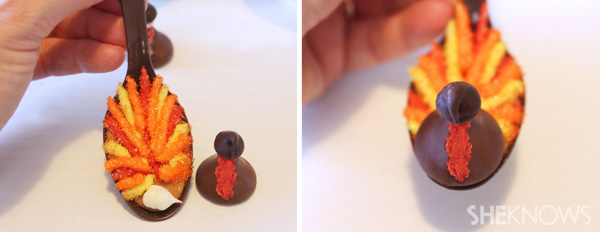 Adorable chocolate spoons that look like turkeys melt into your coffee for a sweet (and festive) treat