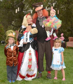 Tori Spelling and kids at Hattie's birthday