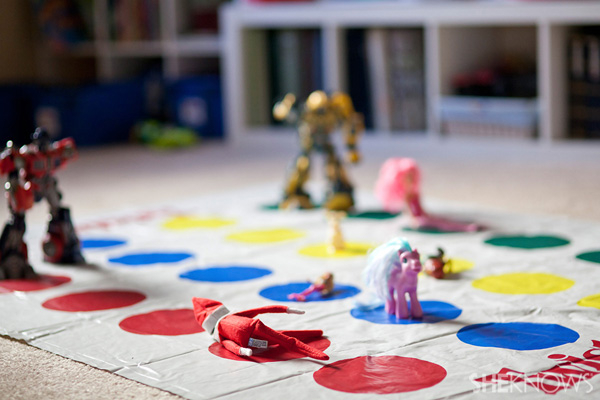 Elf on the Shelf idea 20: Elfie Rojo plays twister