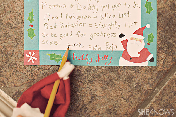 Elf on the Shelf idea 11: Elfie Rojo writes a letter to the children