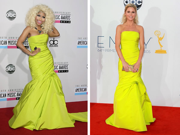 Nicki Minaj at the American Music Awards and Julie Bowen at the Emmy Awards wearing Monique Lhuillier