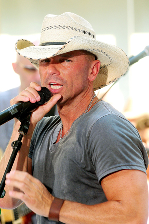 Kenny Chesney performing during Thanksgiving football game