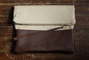 linen and leather clutch