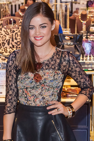 Lucy Hale talks at the 2012 CMA Awards