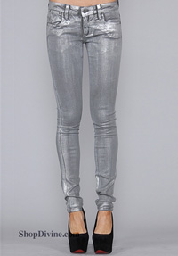 Metallic denim