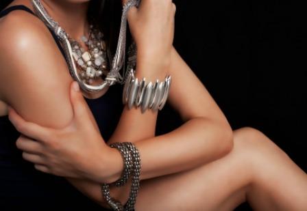 Model wearing jewelry