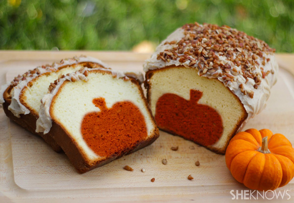 Peekaboo pumpkin pound cake with brown butter pecan icing