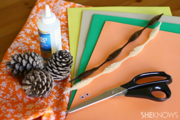 Pinecone turkey craft supplies
