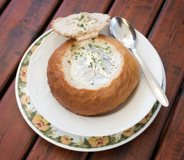 Potato soup in bread bowls
