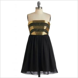 flirty black strapless dress