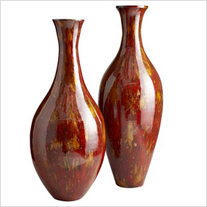 red lacquered vases