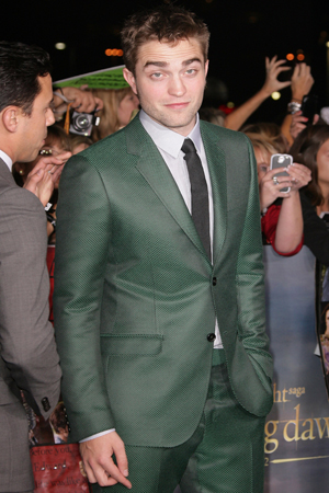 Robert Pattinson at the Breaking Dawn premiere in Gucci