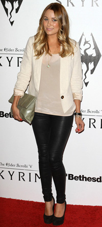 Lauren Conrad wearing Leather leggings
