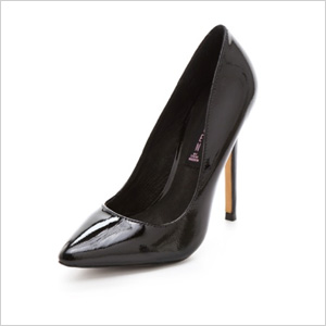sleek black patent pumps