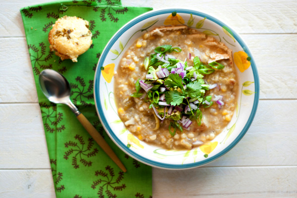 Skinny green chili corn chowder recipe