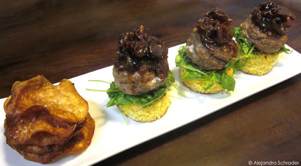 Open-face stuffed turkey sliders with cranberry-onion compote, thyme corn bread 'buns', and sweet potato chips recipe